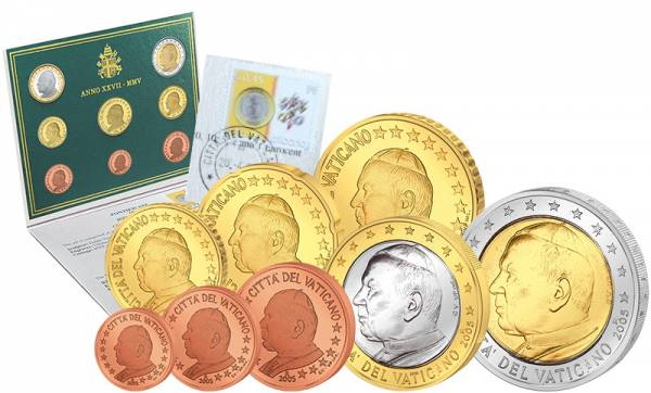Euro Kursmünzensatz Vatikan 2005 Ersttags-Edition