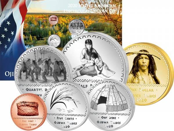 1 Cent - 1 Dollar USA Kursmünzen der Ojibwa 2020
