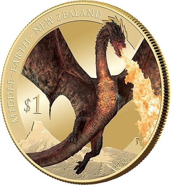 1 Dollar Neuseeland Der Hobbit - Die Schlacht der fünf Armeen 2014 mit Farb-Applikation