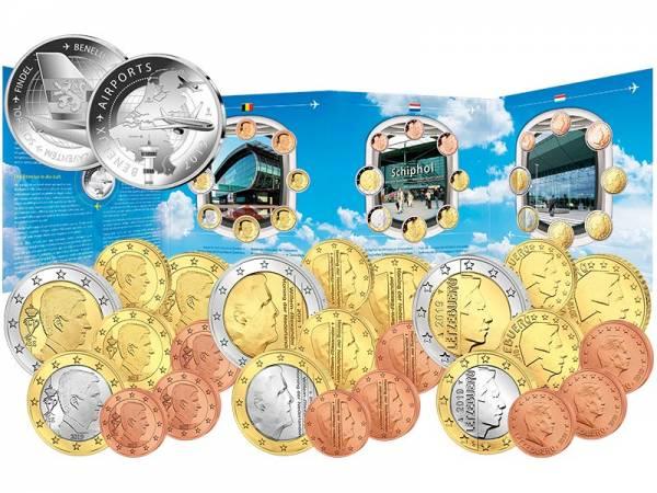 Euro-Kursmünzensätze BeNeLux Die Flughäfen im BeNeLux-Raum 2019