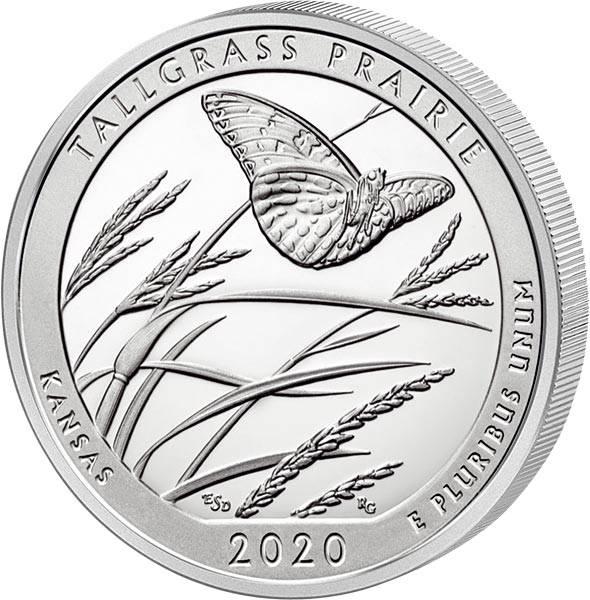 Quarter Dollar 25 Cents USATallgrass Prairie National Reserve 2020
