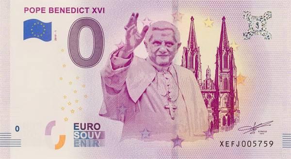 0-Euro-Banknote Papst Benedikt XVI. 2018
