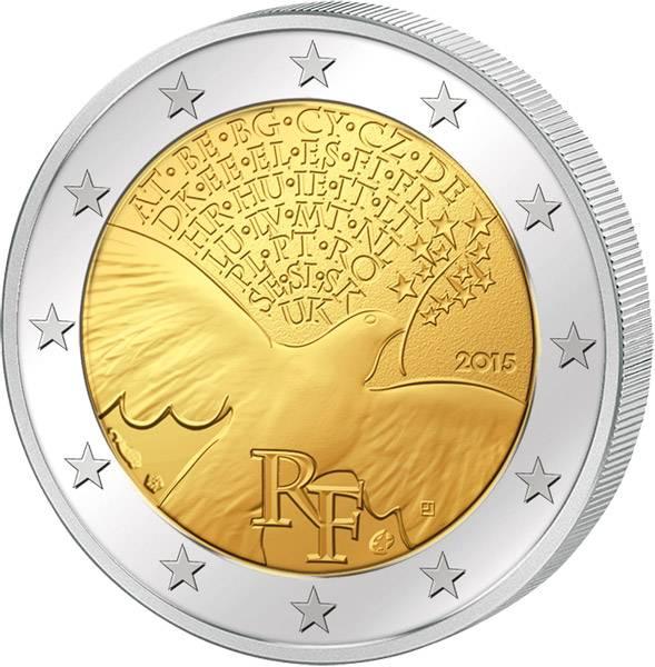 2 Euro Frankreich 70 Jahre Frieden in Europa 2015 prägefrisch