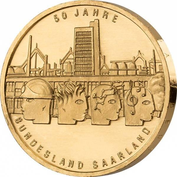 10 Euro BRD 50 Jahre Saarland 2007 vollvergoldet