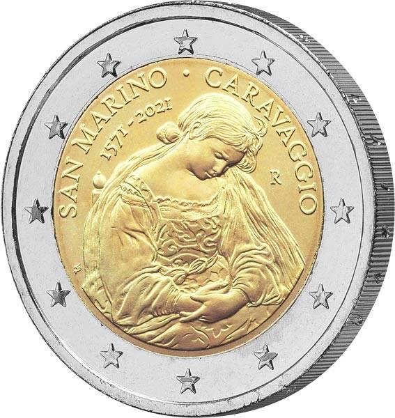 2 Euro San Marino 450. Jahrestag der Geburt von Caravaggio 2021