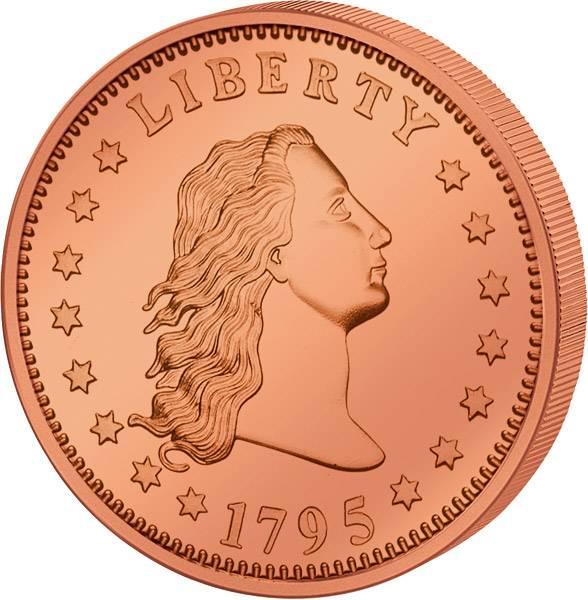 1 Unze Kupfer Gedenkprägung Flowing Hair Dollar