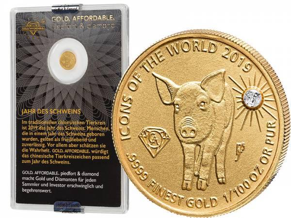 10 Francs Ruanda Gold Affordable Diamond Edition Jahr des Schweins 2019