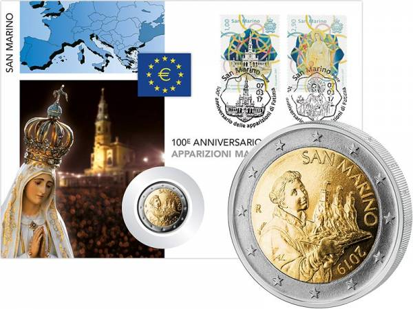 2 Euro Numisbrief San Marino 100 Jahre Marienerscheinungen von Fátima 2017