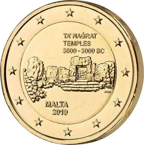 2 Euro Malta Tempel von Ta´Hagrat vollvergoldet 2019