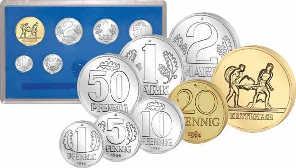 1 Pfennig - 2 Mark DDR Münzsatz 1984