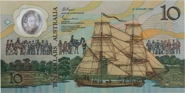 10 Dollars Polymer-Banknote 200 Jahre Besiedlung durch Europäer 1988