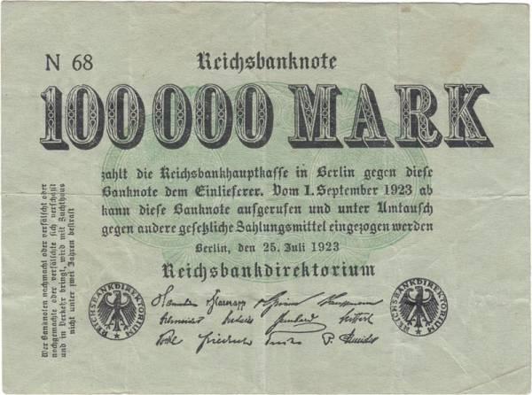 100.000 Mark Rosenberg Nogeldschein 1923
