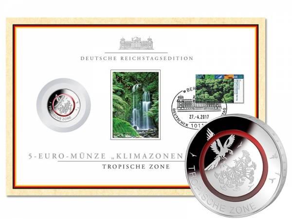 5 Euro BRD Tropische Zone im Reichstagszertifikat