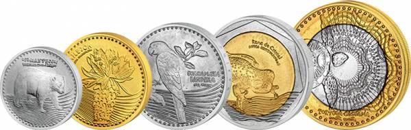 50 - 1.000 Pesos Kursmünzensatz Kolumbien 2012-2015