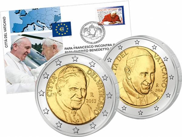 2 Euro Numisbrief Vatikan Treffen der Päpste 2014   prägefrisch
