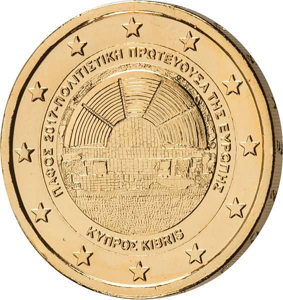 2 Euro Zypern Kulturhauptstadt Paphos 2017 vollvergoldet