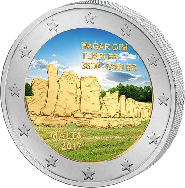 2 Euro Malta Hagar Qim 2017 mit Farb-Applikation