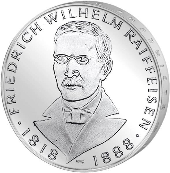 5 DM Münze BRD Friedrich Wilhelm Raiffeisen 1968