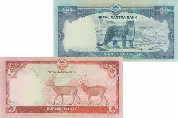 20 + 50-Rupien-Banknoten Nepal 2016-2016