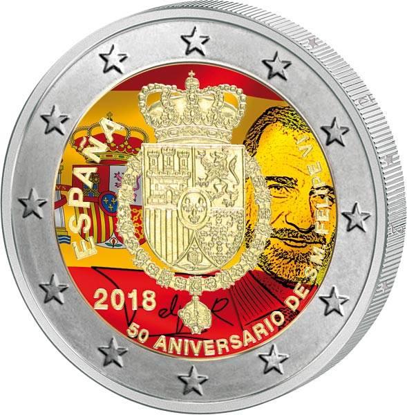 2 Euro Spanien 50. Geburtstag König Felipe VI. 2018 mit Farb-Applikation