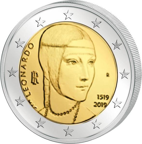 2 Euro Italien 500. Todestag von Leonardo da Vinci 2019
