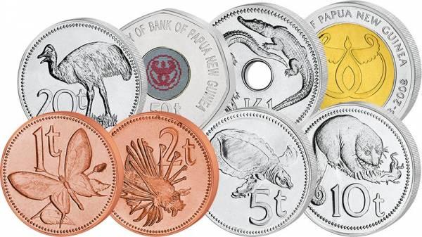 1 Toea - 2 Kina Kursmünzen Papua-Neuguinea 1995 - 2014