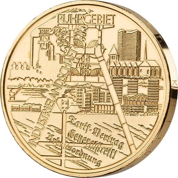 10 Euro BRD Industrielandschaft Ruhrgebiet 2003 vollvergoldet