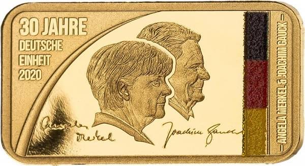 Goldbarren 30 Jahre Deutsche Einheit - Doppelporträt Merkel und Gauck