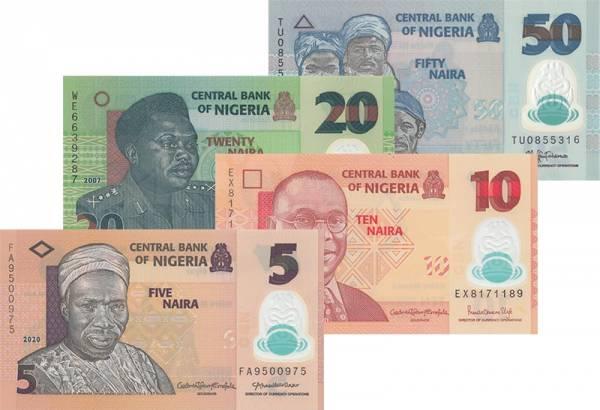 5 - 50 Naira Nigeria Banknotensatz 2013