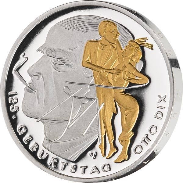 20 Euro BRD Otto Dix 125. Geburtstag Otto Dix 2016 mit Gold-Applikation