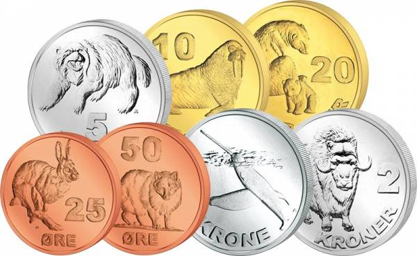 25 Öre - 20 Kroner Kursmünzensatz Grönland 2010