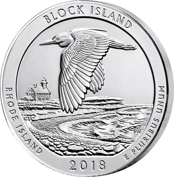 Quarter Dollar 25 Cents USA Rhode Island Block Island National Wildlife Refuge 2018