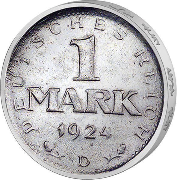 1 Mark Weimarer Republik Adler 1924-1925 Sehr schön