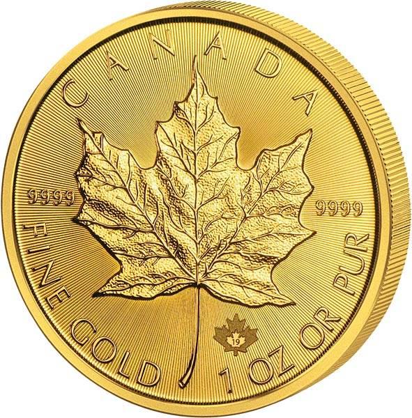 1 Unze Gold Kanada Maple Leaf 2019