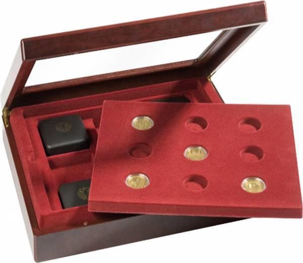 Platz für 9 Münzen Mahagoni-Vitrine für 100-Euro-GolDM BRDünzen