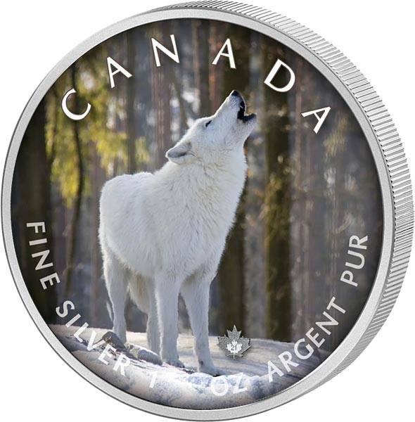 5 Dollars Kanada The Trails of Wildlife Polarwolf 2021