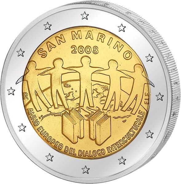 2 Euro San Marino Europäisches Jahr des interkulturellen Dialogs 2008 prägefrisch