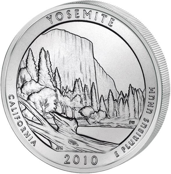 Quarter Dollar USA California Yosemite 2010