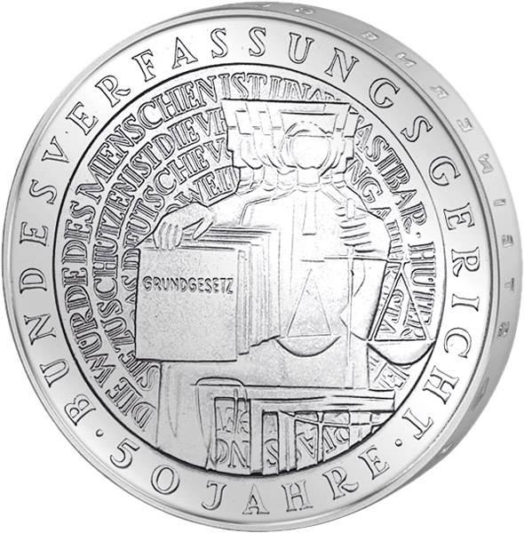 10 DM Münze BRD 50 Jahre Bundesverfassungsgericht 2001