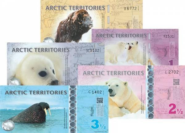 1-5 Dollars Polymer-Banknoten-Satz Arktische Territorien 2010 und 2012-2014