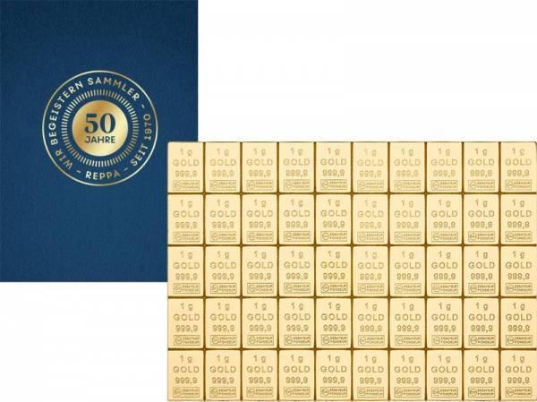50 x 1 Gramm Goldbarren Knickbarren mit 50-Jahre-Reppa-Banderole