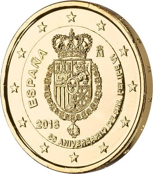 2 Euro Spanien 50. Geburtstag König Felipe VI. 2018 vollvergoldet