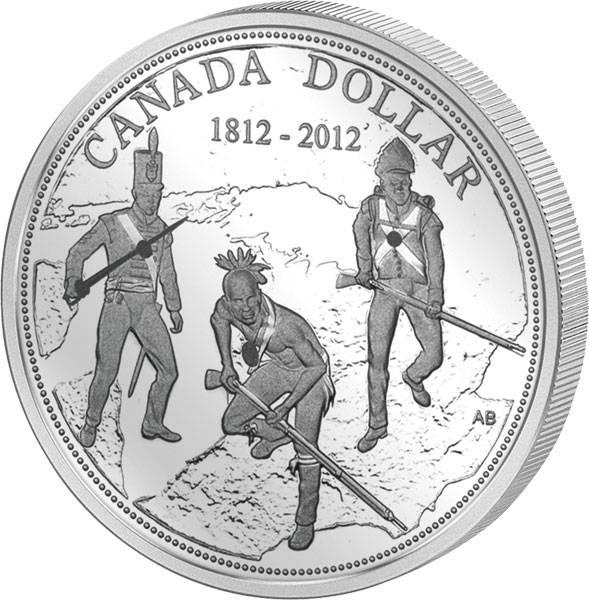 1 Dollar Kanada 200 Jahre Krieg von 1812 2012   Polierte Platte