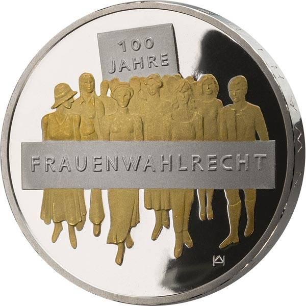20 Euro BRD 100 Jahre Frauenwahlrecht 2019 mit Gold-Applikation