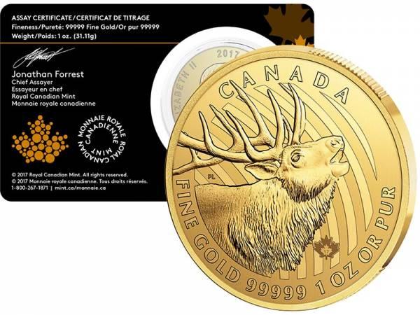 1 Unze Gold Kanada Call of the Wild Hirsch 2017