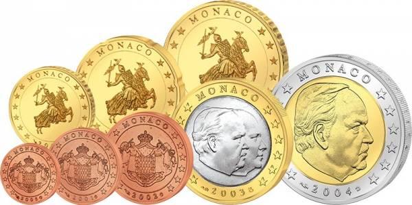 1 Cent - 2 Euro Kursmünzensatz Monaco 2001 - 2005