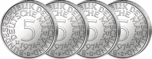 4 x 5 DM BRD Jahrgangssatz Silberadler 1974