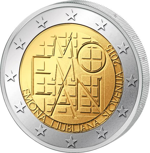 2 Euro Slowenien 2.000 Jahre römische Siedlung Emona 2015 prägefrisch