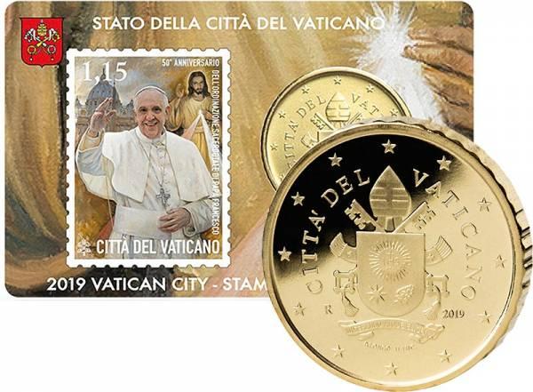 50 Cent Vatikan Stamp und Coincard50 Jahre Priesterweihe Papst Franziskus - Papst 2019