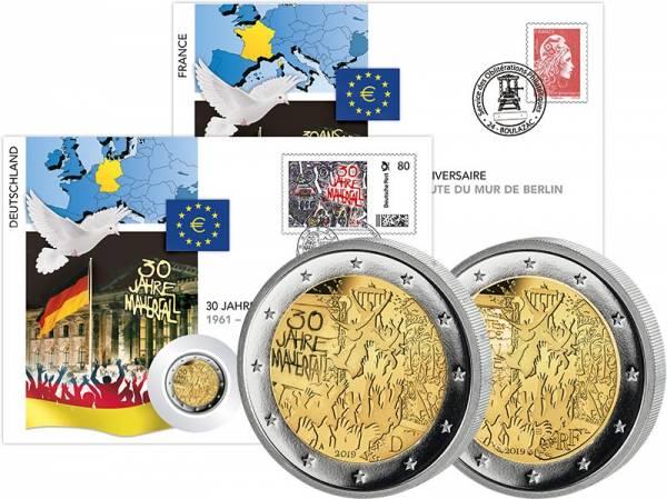 2 Euro Numisbrief BRD + Frankreich Set 30 Jahre Mauerfall 2019